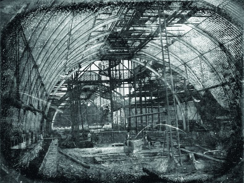 The Palm House, designed by Decimus Burton and Richard Turner, under construction at Kew Gardens, in a daguerrotype from July 1847 by Antoine F.J. Claudet, © The Board of Trustees of the Royal Botanic Gardens, Kew