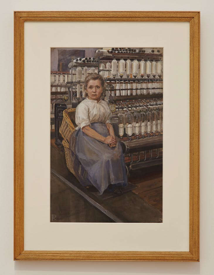 In a Glasgow Cotton Mill: Minding a Pair of Fine Frames (1907), Sylvia Pankhurst. Installation view at Tate Britain, London, 2013–14.