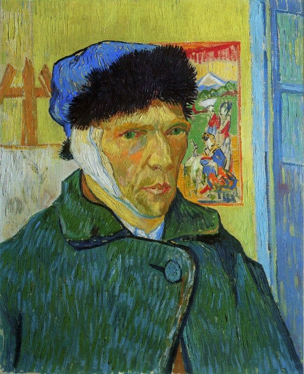 Self-Portrait with Bandaged Ear, (1889), Vincent Van Gogh.