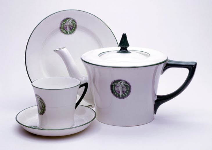 White porcelain teapot set (1909), designed by Sylvia Pankhurst and produced by the Women's Social and Political Union
