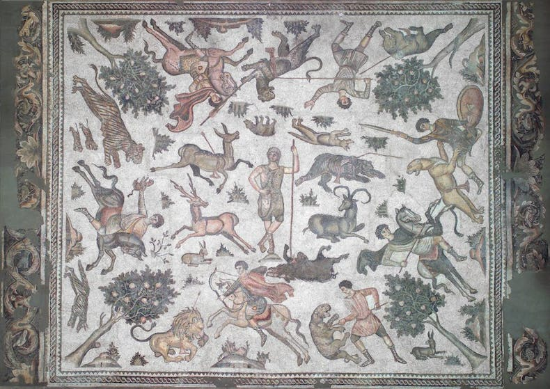 'Worcester Hunt Floor Mosaic', 6th century AD, Roman, excavation of Antioch and vicinity, Worcester Art Museum, Massachusetts