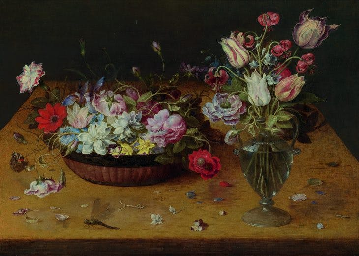 Flowers in a lacquer basket and in a glass vase, Osias Beert the Elder