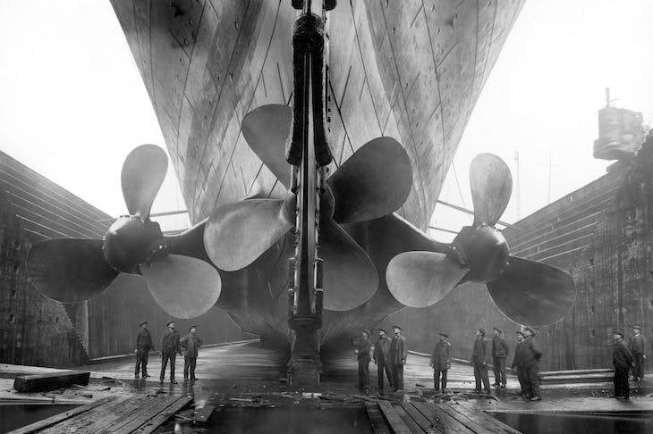 The Titanic in dry dock