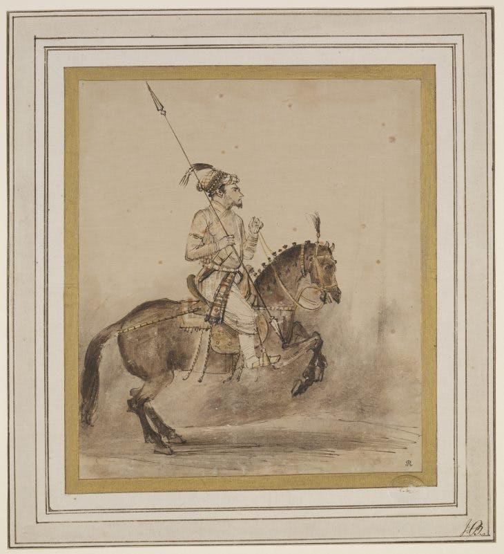 A Mughal Nobleman on Horseback, Rembrandt van Rijn