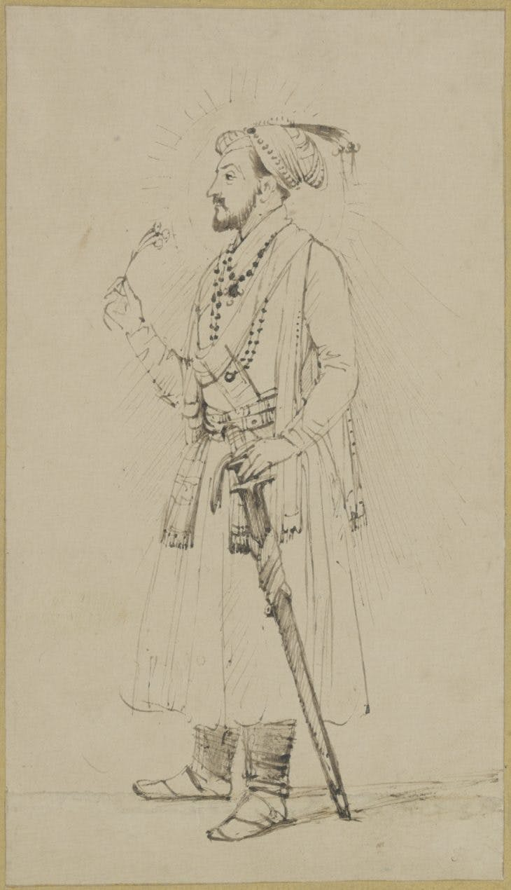 Shah Jahan, Standing with a Flower and Sword, Rembrandt van Rijn