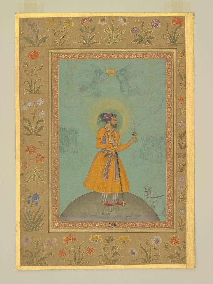 Jujhar Singh Bundela Kneels in Submission to Shah Jahan, Bichitr, with details by Harif