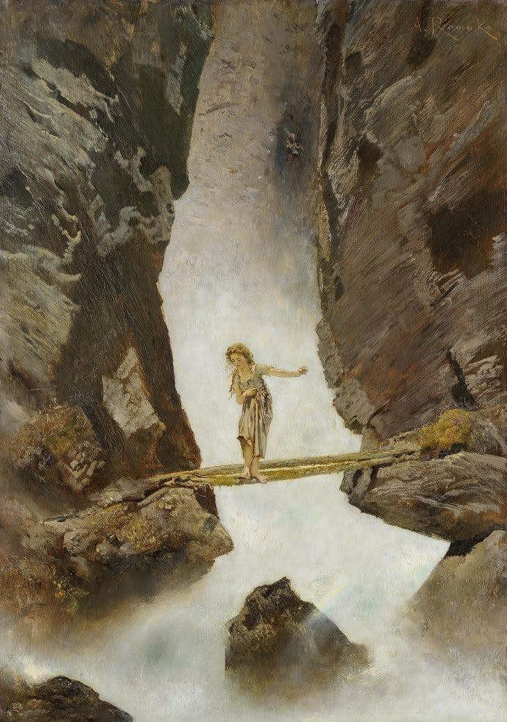 Girl Crossing a Mountain Torrent, Anton Romako