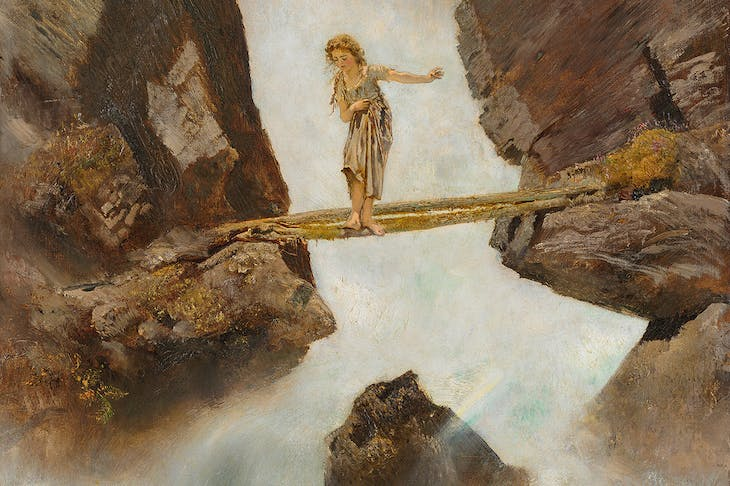 Girl Crossing a Mountain Torrent (detail), Anton Romako