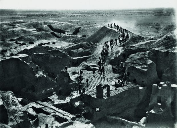 Photograph of the excavation of the Temple enclosure at Nippur, viewed from the top of Ziggurat, taken by John Henry Hayes, 15 August 1899, photo: courtesy Penn Museum