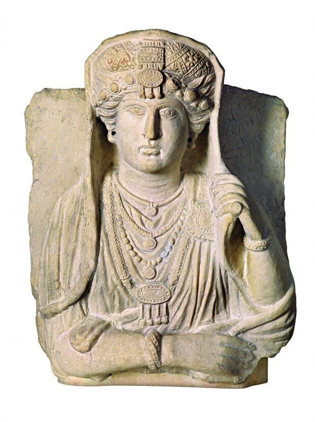 Sculpted portrait of an elite Palmyrene woman, (3rd century AD), Syria, Palmyra, University of Pennsylvania, Museum of Archaeology and Anthropology, Philadelphia, photo: courtesy Penn Museum and Dorling Kindersley