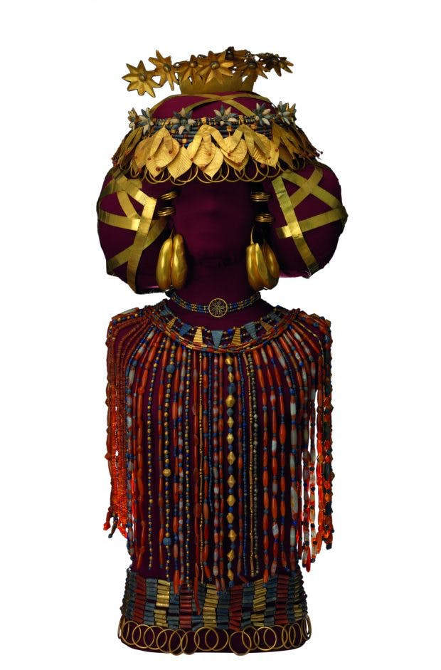 Queen Puabi's headdress, beaded cape, and jewellery from the Royal Cemetery of Ur, (c. 2450 BC), Sumerian, University of Pennsylvania Museum of Archaeology and Anthropology, Philadelphia