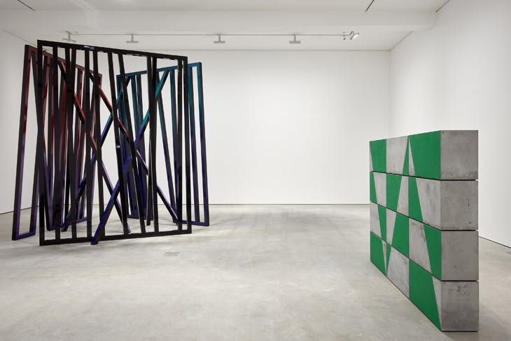Cosmos and Border (both 2018), Eva Rothschild. Installation view at Modern Art, Vyner Street, London, 2018.