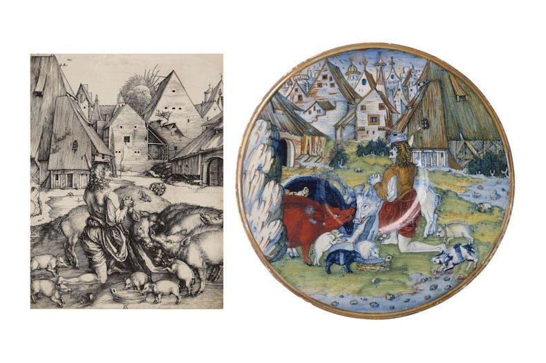 The Prodigal Son, , (c. 1496), Albrecht Dürer. National Gallery of Art, Washington, D.C; Dish depicting the Prodigal Son, (1525), workshop of Maestro Giorgio Andreoli, Gubbio, Italy. The Metropolitan Museum of Art, New York.