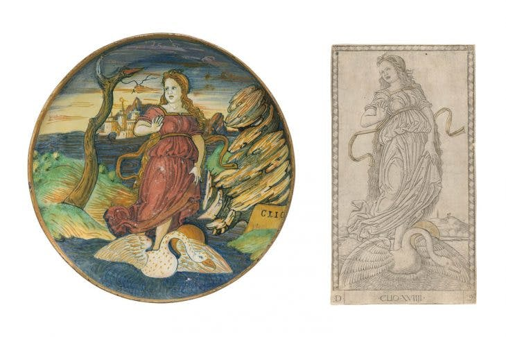 Shallow bowl depicting the muse Clio (c. 1535/40), workshop of Maestro Giorgio Andreoli, Gubbio, Italy; Clio (Muse of History), (c. 1465), Master of the E-series Tarocchi
