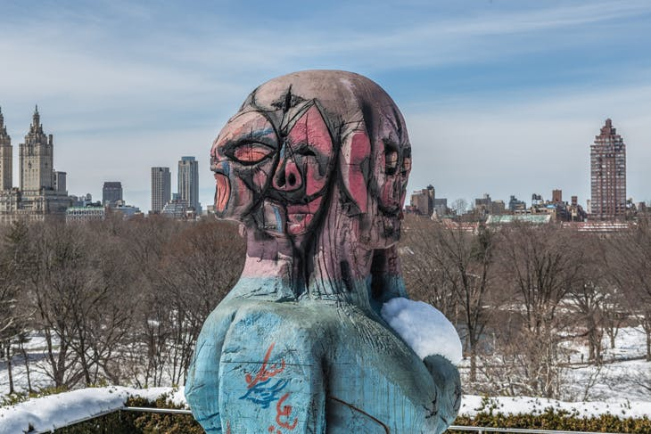 Installation view of 'The Roof Garden Commission: Huma Bhabha, We Come in Peace' at the Metropolitan Museum of Art, New York.