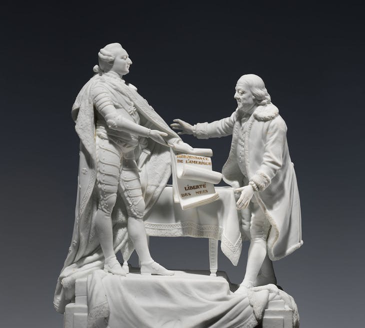 Figure of Louis XVI and Benjamin Franklin, Charles-Gabriel Sauvage