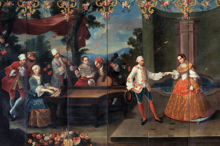 Detail of Folding Screen with Fête Galante and Musicians