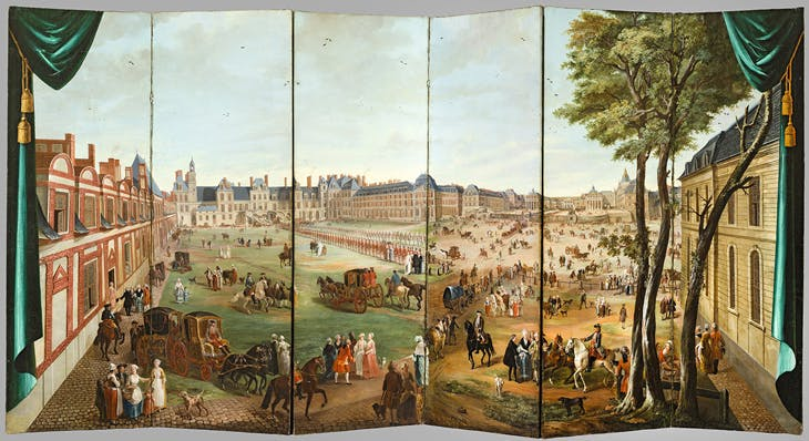 Folding Screen with Views of the Château de Versailles from the Avenue de Paris and the Cour du Cheval Blanc at the Château de Fontainebleau, Charles Cozette