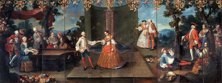 Folding Screen with Fête Galante and Musicians, attributed to Miguel Cabrera