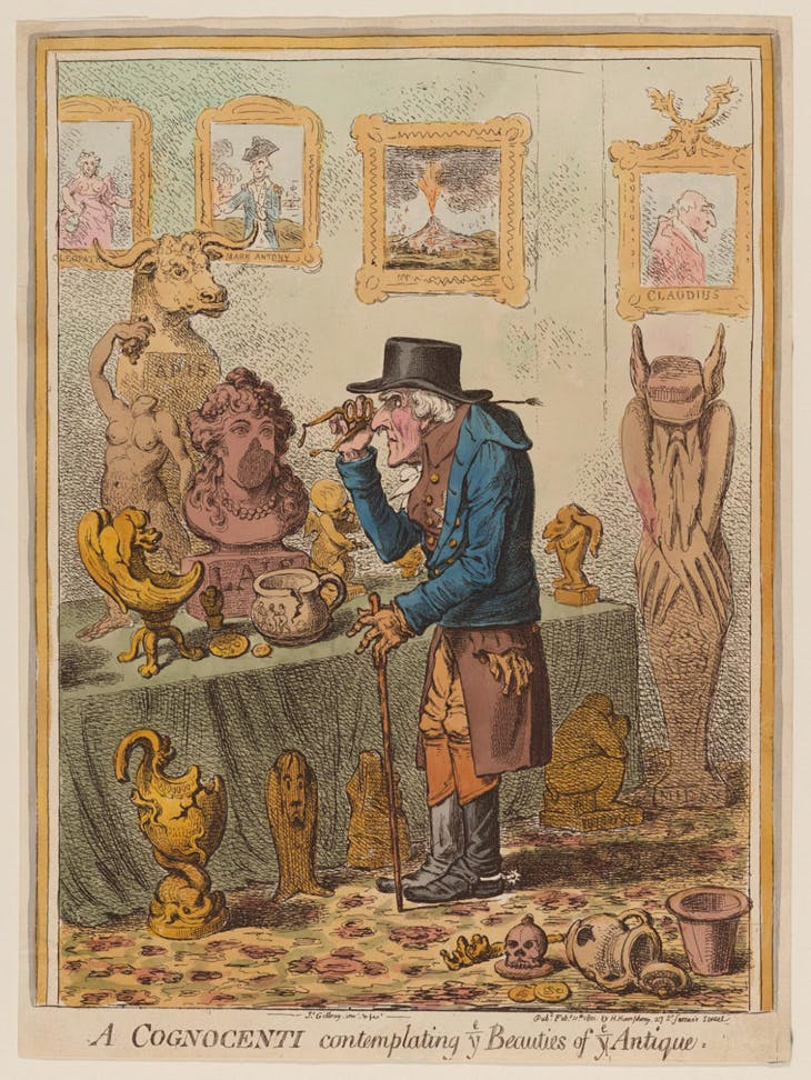 A Cognoscenti Contemplating Ye Beauties of Ye Antique, James Gillray