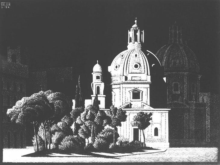 Nocturnal Rome: Small Churches, Piazza Venezia, M.C. Escher