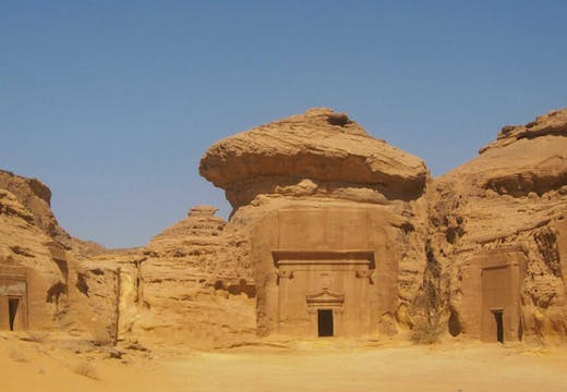 Mada'in Saleh (Hegra), Jabal al-Khraymat. The tomb on the far left belonged to Amat and her daughters.