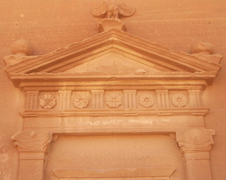 Mada'in Saleh (Hegra). Detail of a pediment over the doorway of a tomb, derived from Greco-Roman architecture.