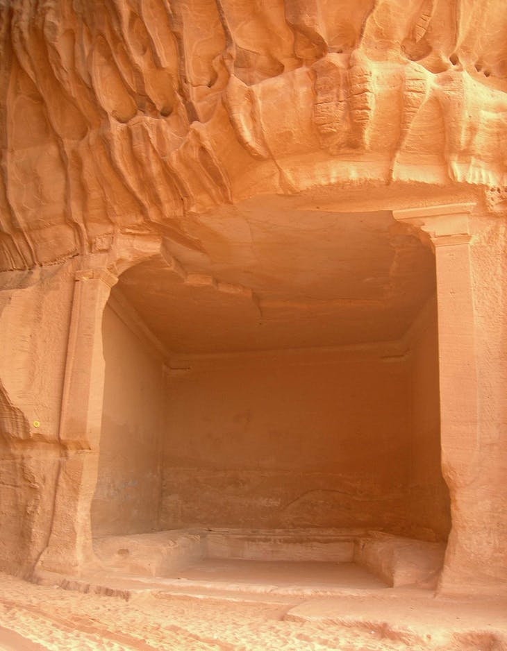 Mada'in Saleh (Hegra), al-Diwan in Jabal Ithlib. Rock-cut banqueting room with benches for reclining on while dining.