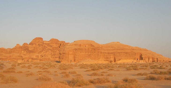 Mada'in Saleh (Hegra). The sandstone outcrops provided surfaces for tomb facades.