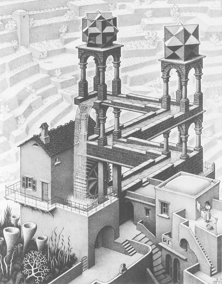 Waterfall, M.C. Escher