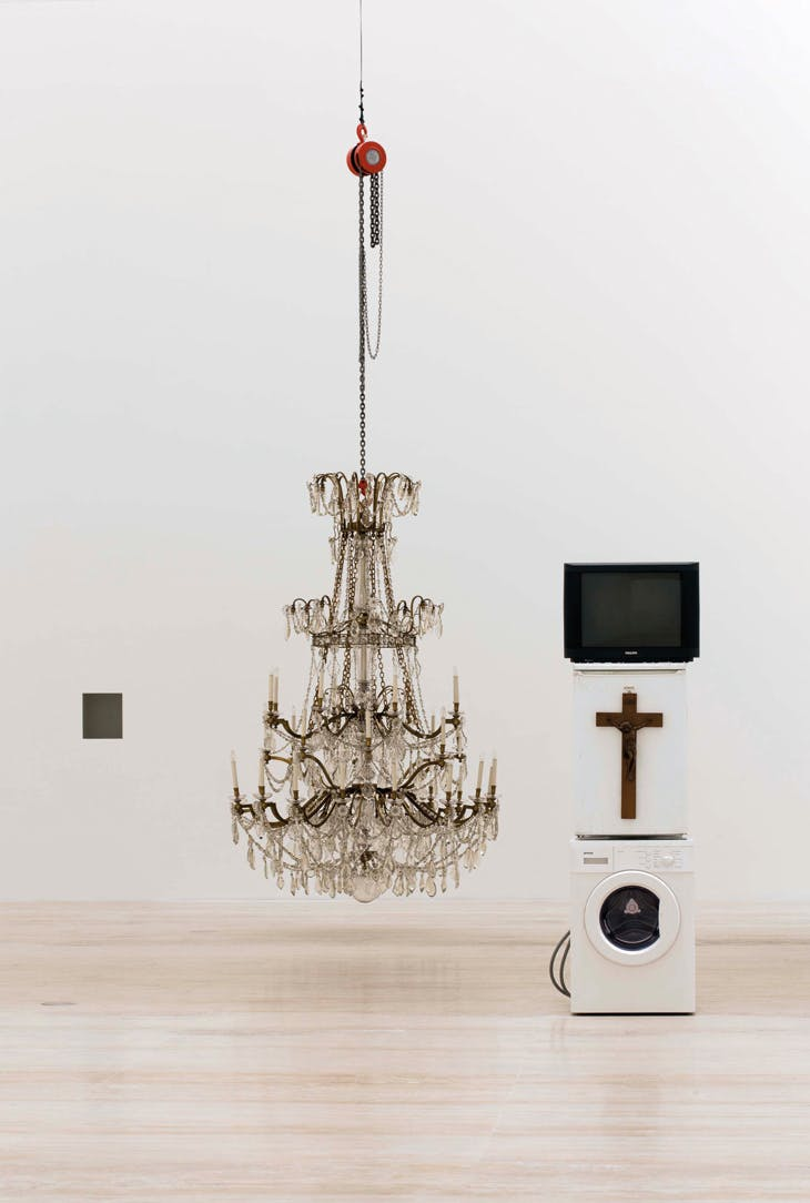 Installation view of 'Danh Vo' at Museo Jumex (2014–15, Mexico City), showing Oma Totem (2009)