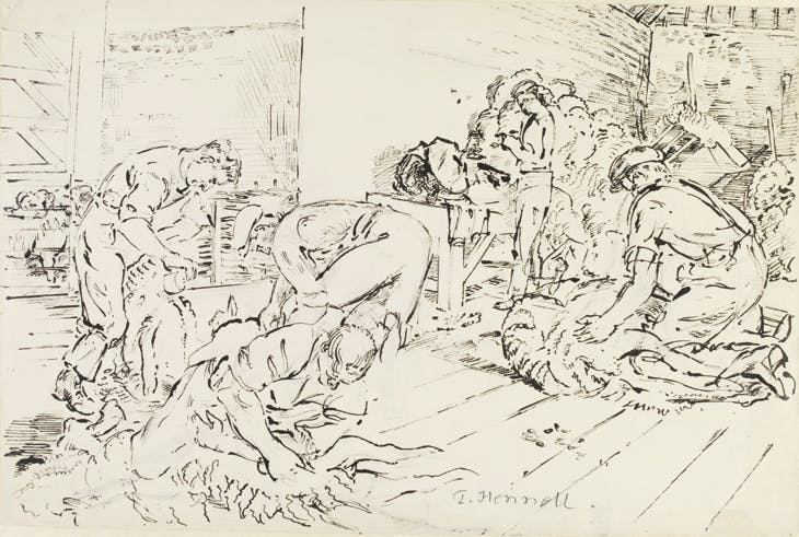 Sheep shearing, Godmanstone , from the 'Recording Britain' project (1940), Thomas Hennell. Victoria and Albert Museum, London