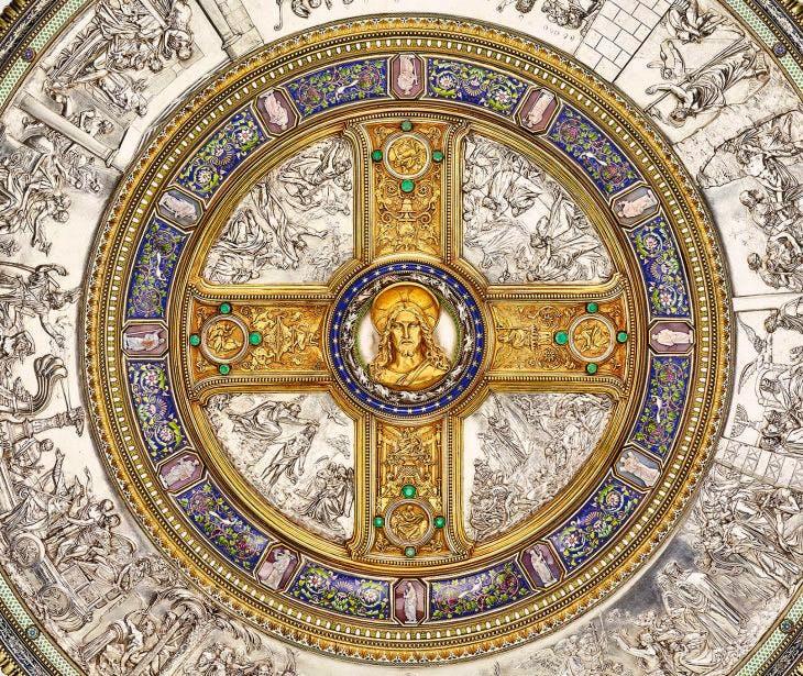 Detail of the Glaubensschild (Shield of Faith), (1842–47), designed by Friedrich August Stüler, Peter von Cornelius and Alexis-Étienne Julienne, Royal Collection Trust, Photo: Royal Collection Trust/© HM Queen Elizabeth II 2018