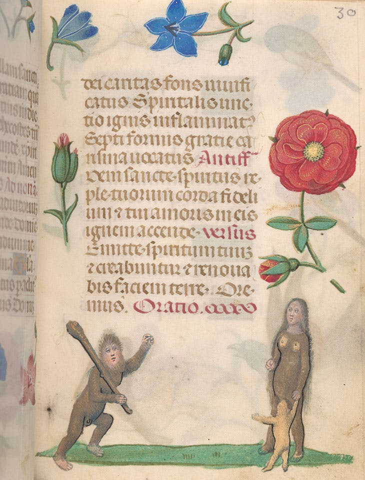 Wild man, woman, and child, from Book of Hours