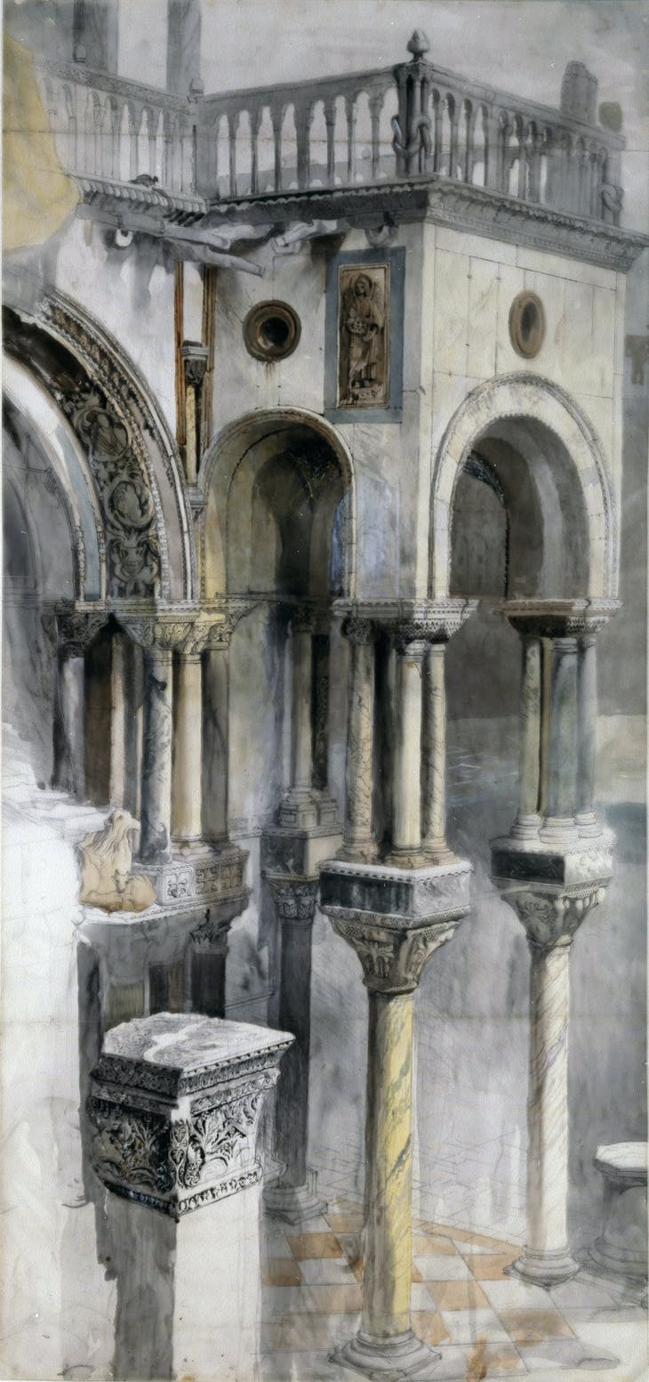 Southern front of the Basilica di San Marco, from the loggia of the Palazzo Ducale (1851), John Ruskin. Private collection