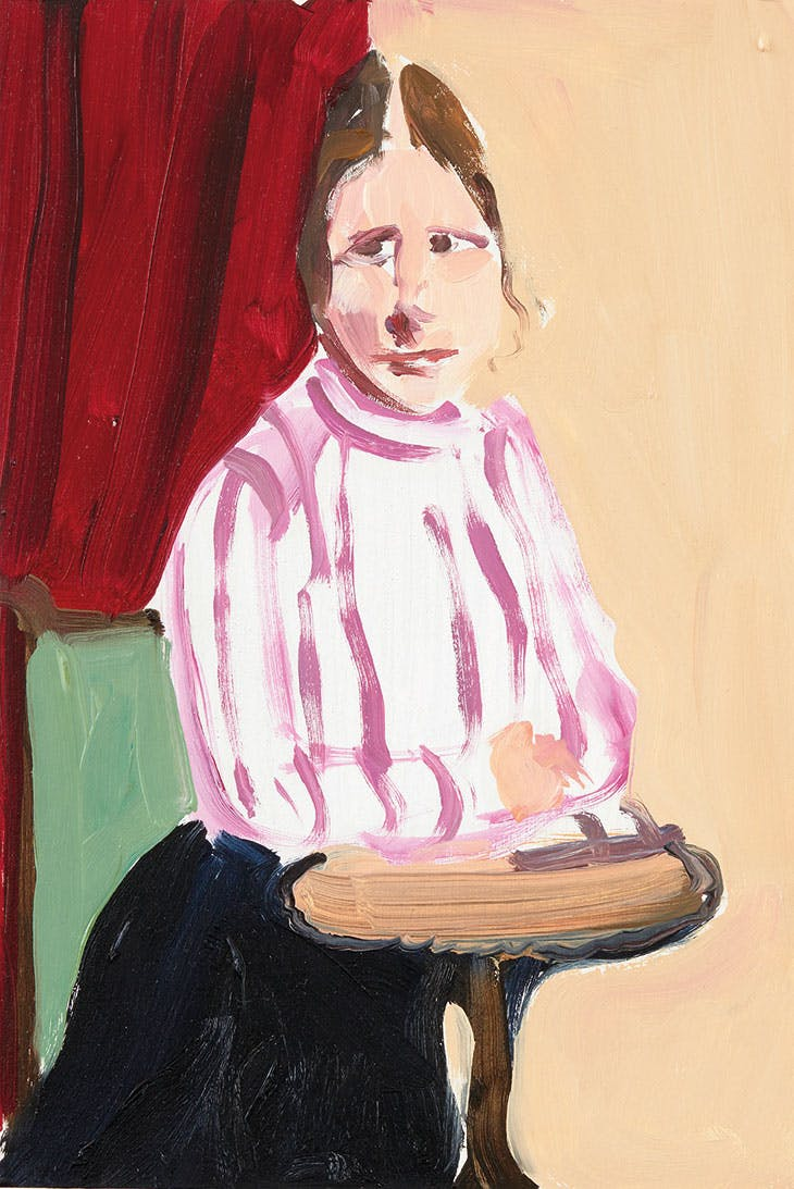 Paula in a High-Necked Blouse (2015), Chantal Joffe.