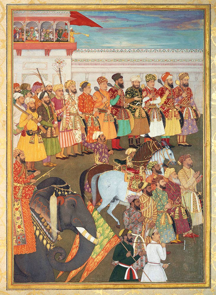 Asaf Khan during his accession ceremonies from the Padshahnama manuscript