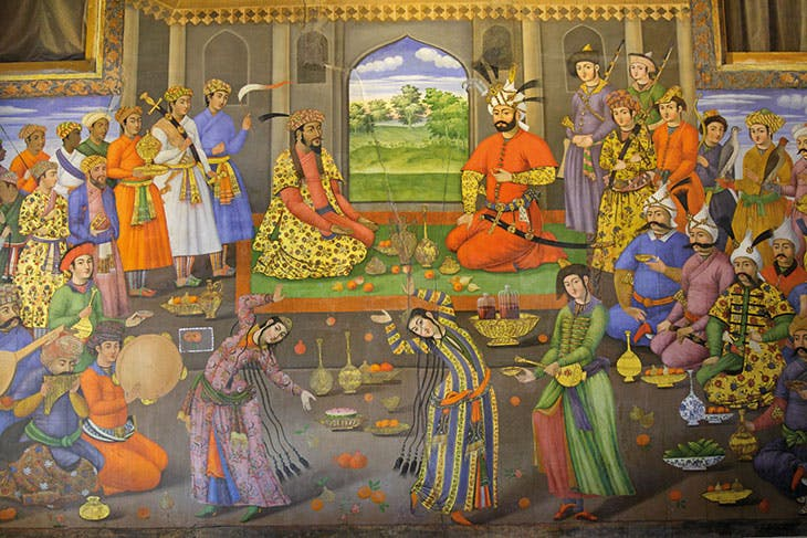 Mural at the Chehel Sutan Palace in Isfahan, from the 16th century, showing the Safavid ruler Shah Tahmasp receiving the exiled Mughal emperor Humayun
