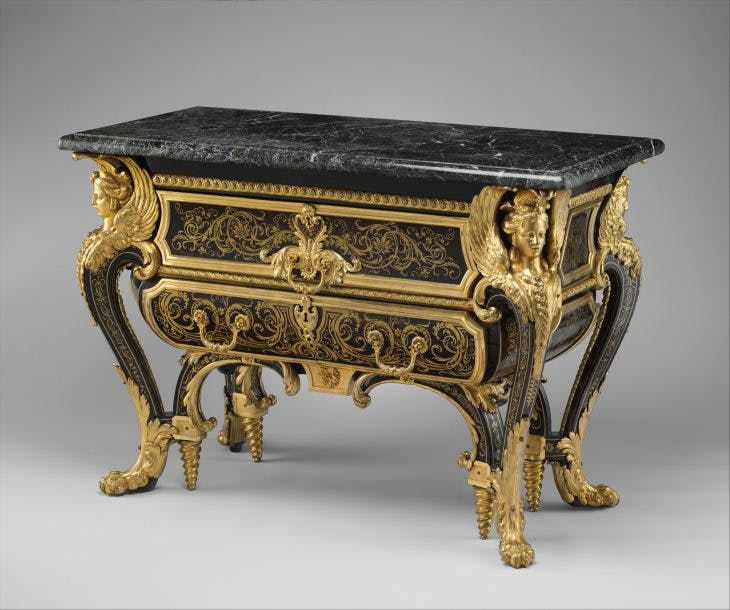 A genuine commode made by André-Charles Boulle in c. 1710–20, at Metropolitan Museum of Art, New York.