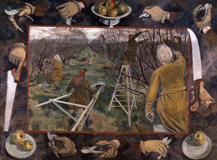 A 1944 Pastoral: Land Girls Pruning at East Malling (c. 1944), Evelyn Mary Dunbar. Manchester Art Gallery.