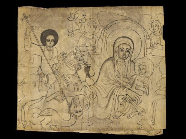 St George and the Dragon, the Virgin and Child, Christ and His Disciples, in Gethsemane, Christ scourged, Christ mocked, the Crucifixion and Taking Down from the Cross, (17th century), Ethiopia, Victoria and Albert Museum