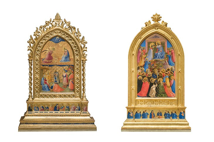 The Annunciation and The Adoration of the Virgin (left) and The Coronation of the Virgin (right) (1424–34), Fra Angelico. Museo di San Marco, Florence