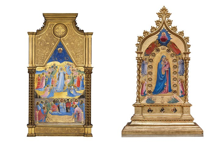 The Dormition and Assumption of the Virgin (left) and The Madonna della Stella (right) (1424–34), Fra Angelico. Isabella Stewart Gardner Museum, Boston/Museo di San Marco, Florence.