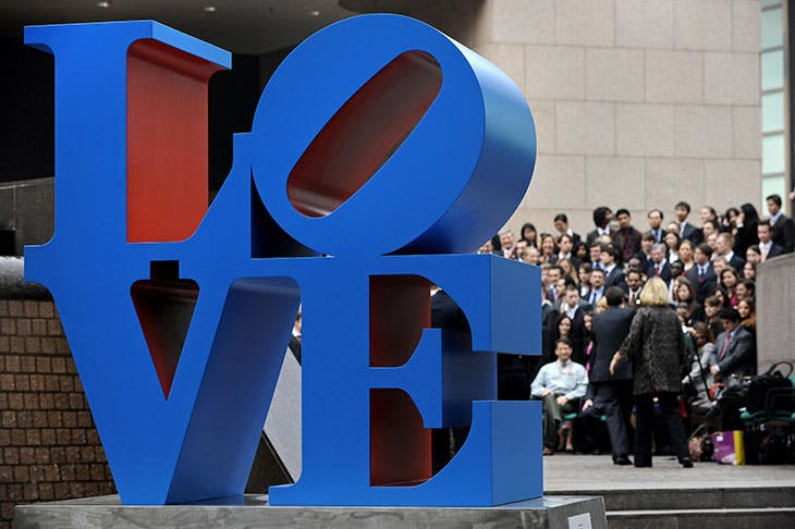 A sculpture from Robert Indianas LOVE series in Hong Kong, 2008.