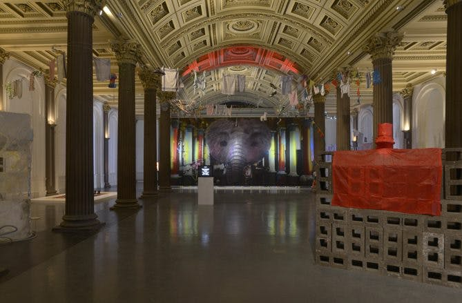 Installation view of a work by John Russell, part of 'Cellular World' at the Gallery of Modern Art, Glasgow International Festival 2018, photo: © Alan Dimmick