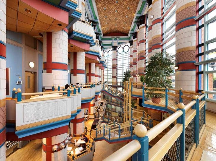 Inside the Judge Business School, Cambridge, designed by John Outram, which has received a Grade II* listing. © Historic England