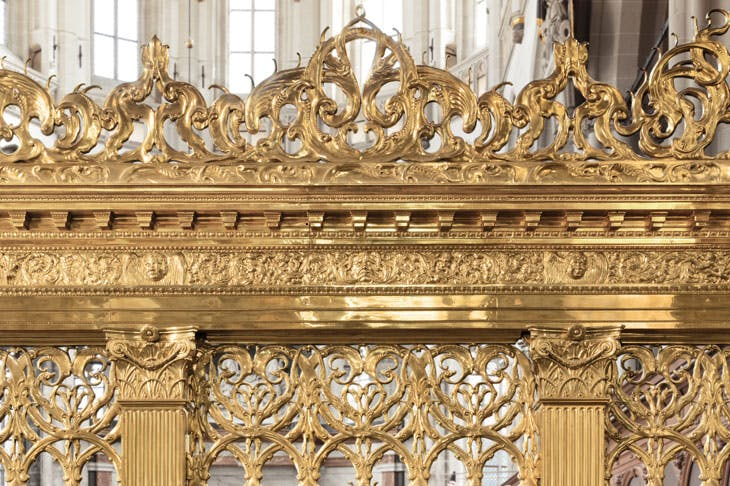 Part of a brass choir screen at De Nieuwe Kerke, Amsterdam, cast by unknown brass-founders in c. 1654, after a design by Johannes Lutma, probably in collaboration with Jacob van Campen