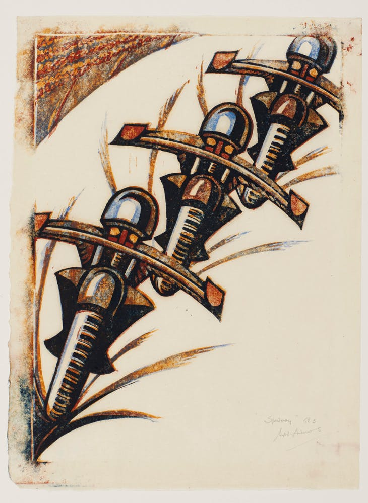 Speedway (1934), Sybil Andrews. Sotheby's London, £60,000