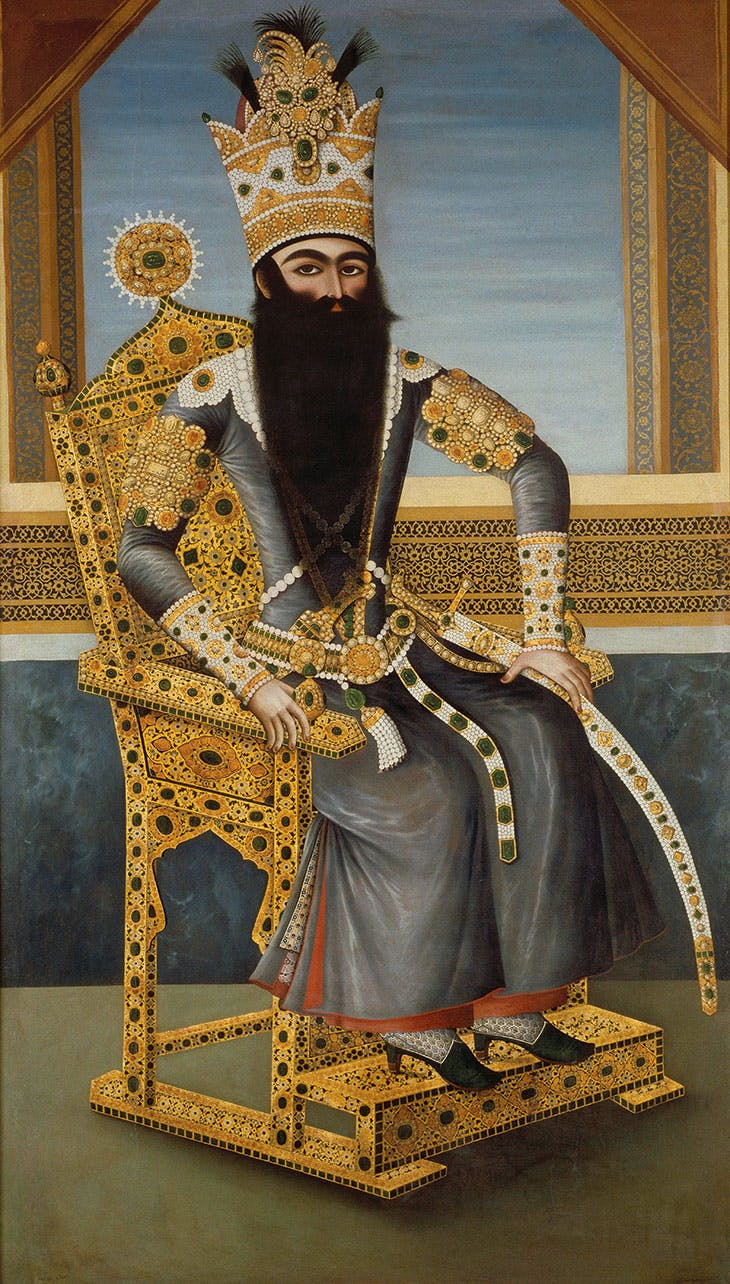 Fath 'Ali Shah on his throne (c. 1800–06), attributed to Mihr 'Ali. Musée du Louvre, Paris