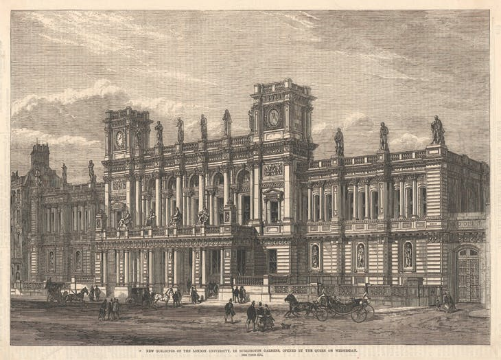 'New Buildings of the London University, Burlington Gardens', a wood engraving showing James Pennethorne's building shortly after completion and published in the Illustrated London News in 1870